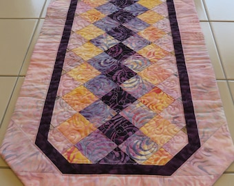 Quilted Batik Table Runner pink gold purple