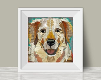 Golden Retriever Collage Style Art Print - A Whimsical and Colorful  12x12in Home & Wall Decor Hanging and Unique Gift for Dog Lovers