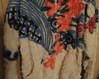 Women's XL Damze San Diego Of California Chenille Bedspread Jacket Floral Print Zip Up, With banded Cuffs And Bottom