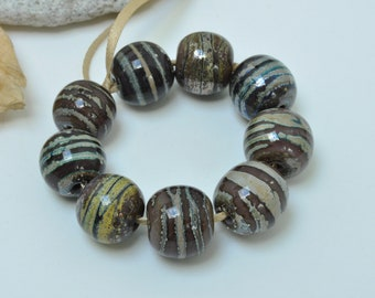 Moon Rocks - Artisan lampwork beads by Loupiac
