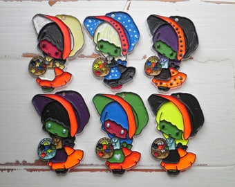 Punk Rock Halloween Holly Hobbie Zombie Pendants - 6 Hand Painted Large Plastic Charms for Jewelry / Ornaments - Kitschy 1980s Era Retro Lot