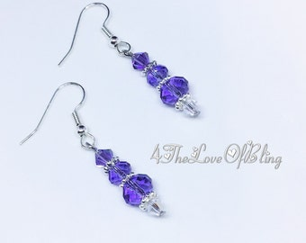 Crystal Drop Earrings made with Swarovski Tanzanite AB Briolettes and Crystal Aurora Borealis (AB) Crystals, Swarovski Crystal Earrings