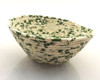 Small Green and Cream Bowl // Handmade Coiled Fabric Organization Basket Home Decor Clothesline