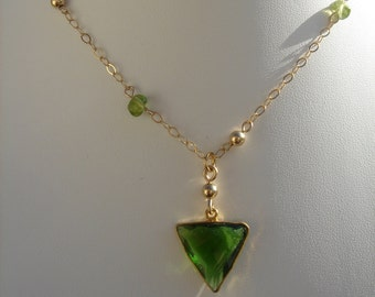 585 of vintag necklace with Peridot quartz, triangle