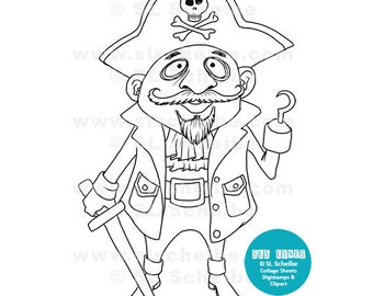 Digital Stamp Pirate, Whimsical Pirate digistamp, instant download