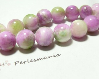 2 beads jade colored 12mm blue green R73083