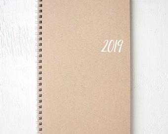 2019 small kraft monthly spiral planner