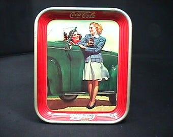 A Vintage 1942 Coca-Cola Original Metal  WW II Era Tip Tray in Great Condition