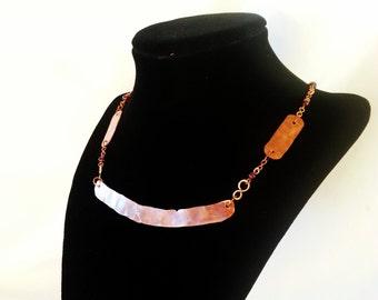 Handcrafted Polished Copper and Garnet Link Necklace