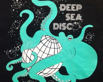 Deep sea disco octopus tote, hand silkscreen printed