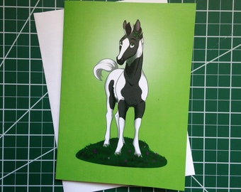 Spring Greeting Card Blank Foal Horse Clover March Greeting Cards