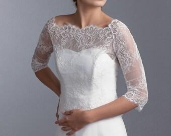 Bridal lace bolero with 3/4 sleeves, lace bridal bolero, lace jacket, Wedding lace bolero