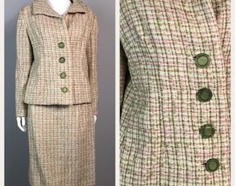 Vintage 1960s Pink and Green Plaid Checked Two Piece Suit Dress Set Skirt Coat / Women's Medium / 60s Button Up Blazer Jacket Pencil Skirt