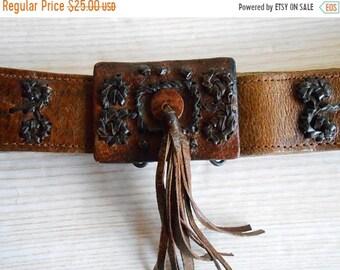 20%ON SALE Vintage Brown  Leather Belt, 70s  Leather Belt, Women's Leather Belt, Boho women's leather belt