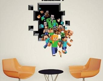 1 Large Minecraft Gang 3D Wall Decal 19x27  ~ Steve Ghast Creeper Pig #MC004 & Minecraft wall decal | Etsy