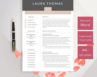 Professional Minimal Resume Template with Cover Letter | CV Template for Microsoft Word Modern Resume Design | Instant Download for MS