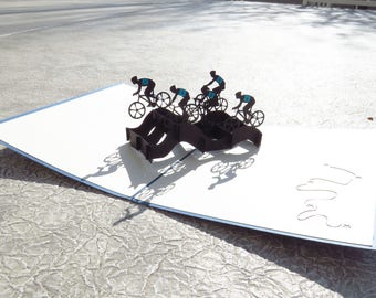 Bicycle Team 3D Pop Up Card, sports 3D card, sports pop up card, birthday bike card, bike card, bicycle 3D card, retirement card