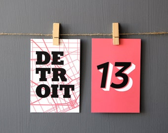 Detroit Modern Map Table Numbers Double-Sided Wedding Party