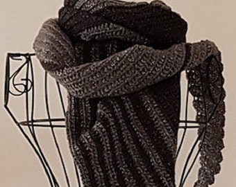 Striped Crochet Scarf, Black And Grey Long Women's Scarf, Sparkly Steampunk Style Wrap, Asymmetrical Scarf, Extra Long Winter Accessory