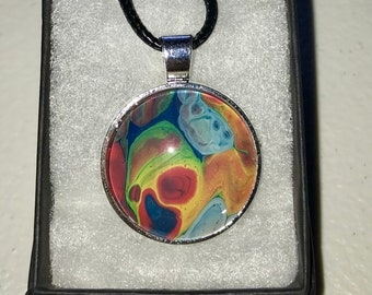 Acrylic Pour Necklace Wearable Multi-Color Art