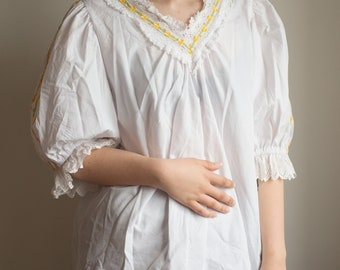Vintage White Blouse - Yellow & Orange Lace Detailing uk 8-10