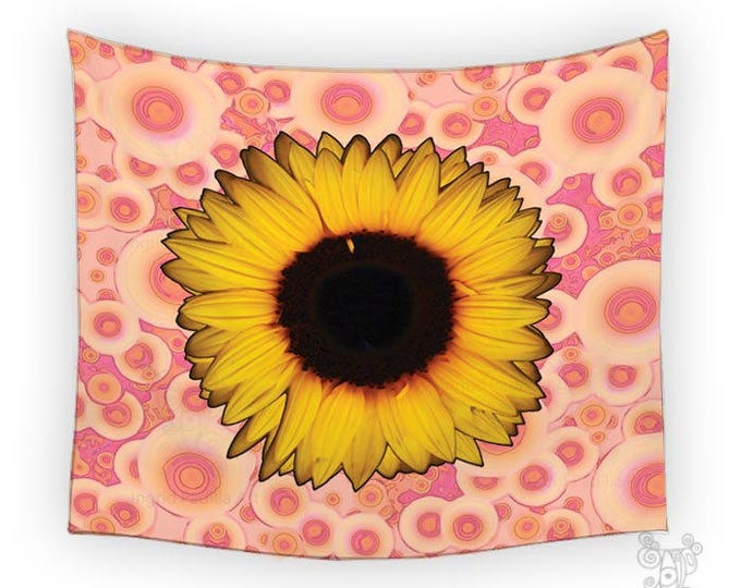 Featured listing image: Sunflower Tapestry, tapestry, Tapestry wall hanging, Wall Tapestries, Dorm tapestry, Pink tapestry, Wall Tapestry, BOHO Tapestries, Wall Art