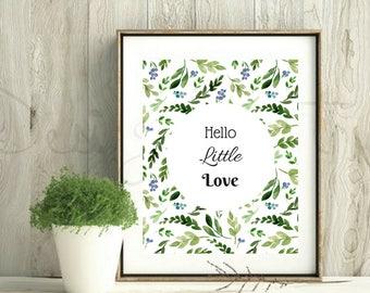 Botanical Nursery Wall Art, Nursery Decor Printable Boho, Girls Decor Printable Floral, Printable Wall Art Nursery Floral, Hello Little Love