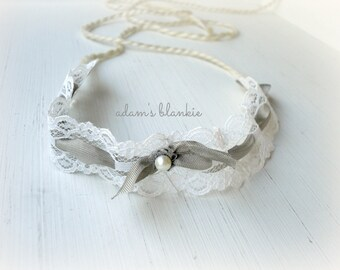 Avril - YOU Choose COLOR  - Tie Back Open Halo Headband - Cream Ivory White Gray - Lace Bow Ribbon Pearl - Newborn Baby Girl Infant Adult