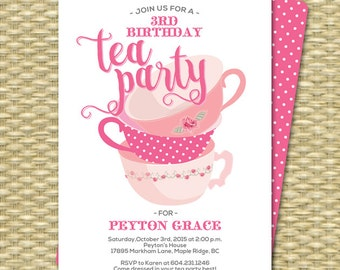 Birthday Tea Party Invitations Birthday Tea Party Invitation Birthday Tea Party 1st Birthday Tea for Two Any Age Tea Party