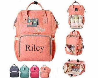 Monogrammed embroidered Diaper Bag backpack, Multipocket personalized diaper bag, color options, Multifunction diaper bag, LRD Bag, Nappy ba