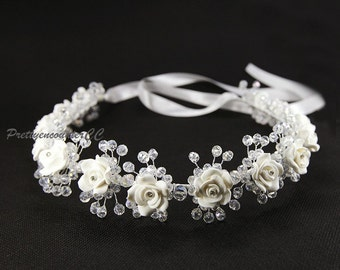 White Flowers handmade headdress flowers hair accessory headwear for bride wedding accessories with beads Crystal Balls and satin ribbon