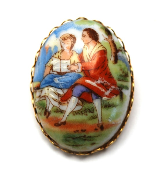 Limoge Fragonard Style Brooch  - painted porcelain - Courting Couple Brooch - gold metal - green Rhinestone - Pink Art Glass