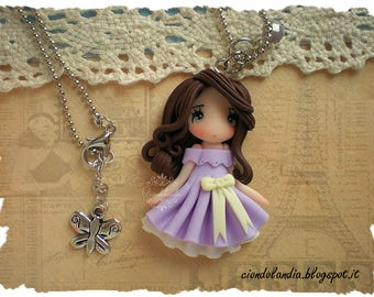 Princess doll necklace (Polymer clay lilac dress)