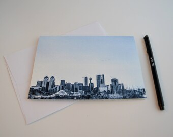 Greeting Cards with Envelopes, City Calgary Skyline, Blank Notecards, Made in Canada by KarenMakes