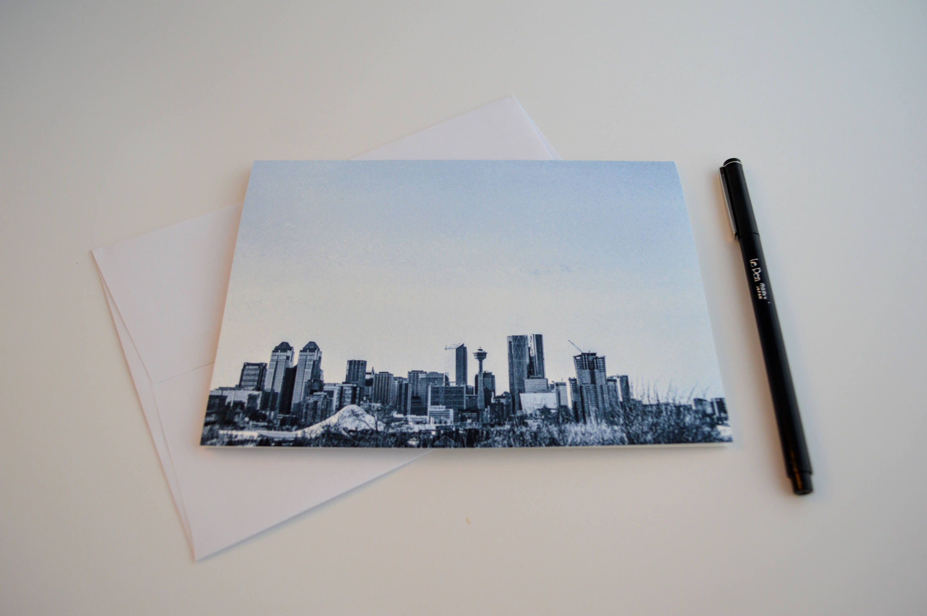 Greeting Cards With Envelopes City Calgary Skyline Blank