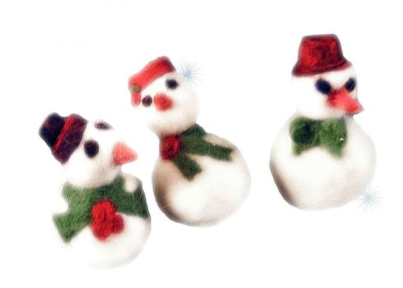 Needle Felting Kit, snowman, snow woman, ornament kit, craft kit, DIY, pdf tutorial, red, white, green, holiday  Christmas tree ornament