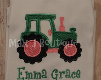 Monogrammed Pink Tractor Applique shirt.