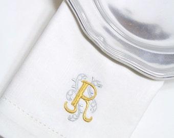Monogrammed Embroidered Ornate Cloth Dinner Napkins / set of 4 / embroidered napkins, personalized linen, hostess gift, wedding napkins