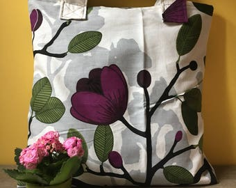 Bag in sturdy cotton floral print Shopper made of rough cotton flower print