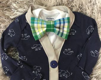 Cardigan Onesie, Brothers matching set, Cardigan and Bow tie set, Boys Bow tie, Easter, Boys Easter