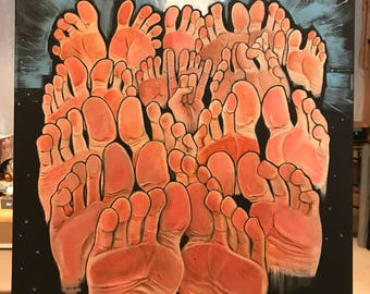Original Forest of Feet acrylic painting by Michigan artist Dennis A!