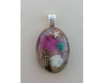Goddess Oval Pendant, Necklace, Resin, Rose, Key, Gift, For Her, Rose