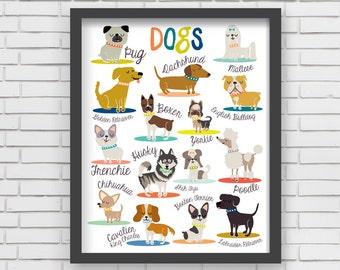 Dogs Wall Art Print Home Decor Dogs Art Print - 8x10 or 11x14  sc 1 st  Etsy & Dog art prints | Etsy