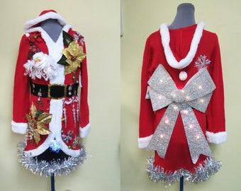 Elegant Mrs Claus Evening Wear, Glam Tacky Ugly Christmas Sweater Dress,  Huge Light up LED Bow, Sz  Large , Christmas Dress, Santa Dress
