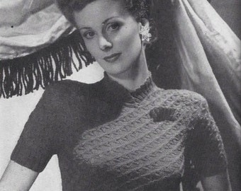 1940's Stitchcraft Knitting Pattern for a Cable Jumper - Scalloped Neckline - Sweater - Vintage Knitting