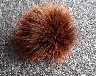 Size M (Brown- red orange flecked) faux fur pom pom 5 inches/ 12cm