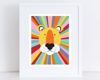 rainbow lion print - wild animal, sarafi nursery art, african, kids art, nursery decor, jungle wall art, illustration, babies room, boy girl