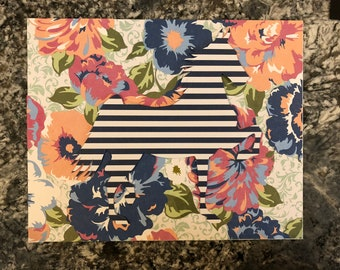 Hand-cut paper collage, navy/white/pink floral 5-gaited American Saddlebred
