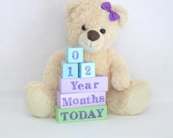 Baby age blocks, milestone blocks, baby photo prop, milestone age blocks - Ice Blue, Mauve, Fresh Green