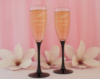 Black Tie Affair Personalized Wedding Champagne Toasting Flutes with Couples Monogram Design Options and Font Selection (Set of Two - 7 oz.)